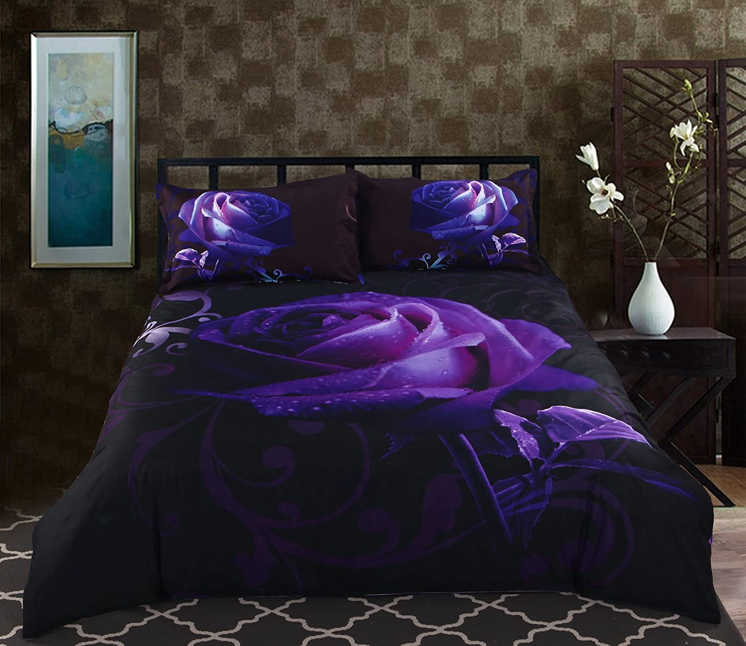 bed and purple yellow bedding