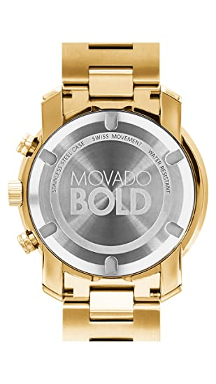 897b24e27 Amazon.com: Movado Men's BOLD Metals Chronograph Watch with a Printed Index  Dial, Gold (Model 3600278): Watches