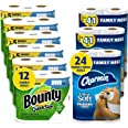 Charmin Ultra Soft Cushiony Touch Toilet Paper, 24 Family Mega Rolls and Bounty Quick-Size Paper Towels,12 Family Rolls, Bund