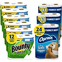 Charmin Ultra Soft Cushiony Touch Toilet Paper, 24 Family Mega Rolls and Bounty Quick-Size Paper Towels,12 Family Rolls…