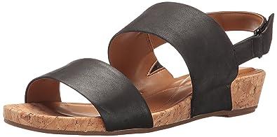 Easy Spirit Women's Noal Wedge Sandal, Black Leather, ...