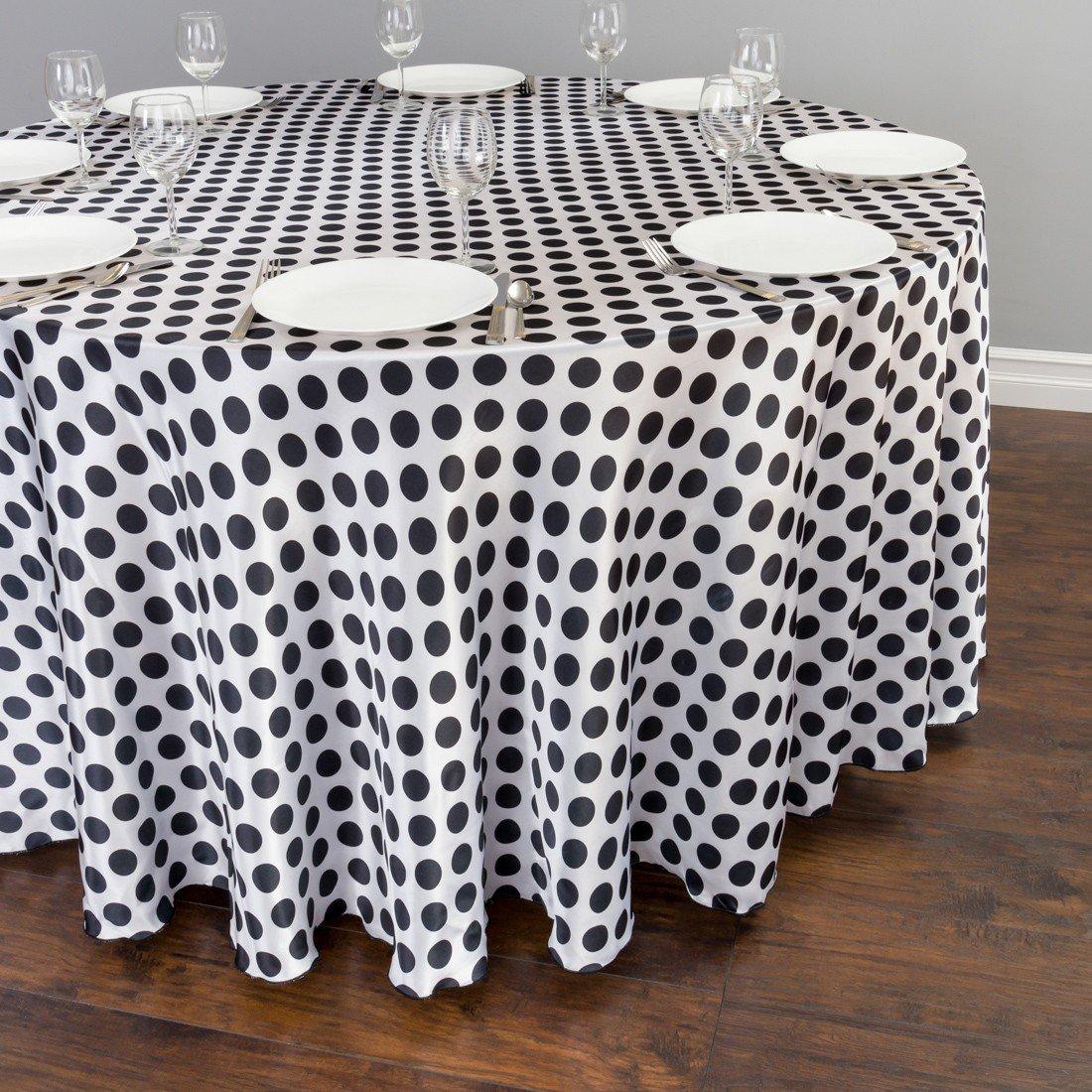 Round Polka Dot Satin Tablecloth White / Black: Home U0026 Kitchen