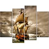 SmartWallArt - Natural Landscape Paintings Wall Art a Sailing Ship on the Sea under the Mortal Storm 4 Panel Picture Print on Canvas for Modern Home Decoration