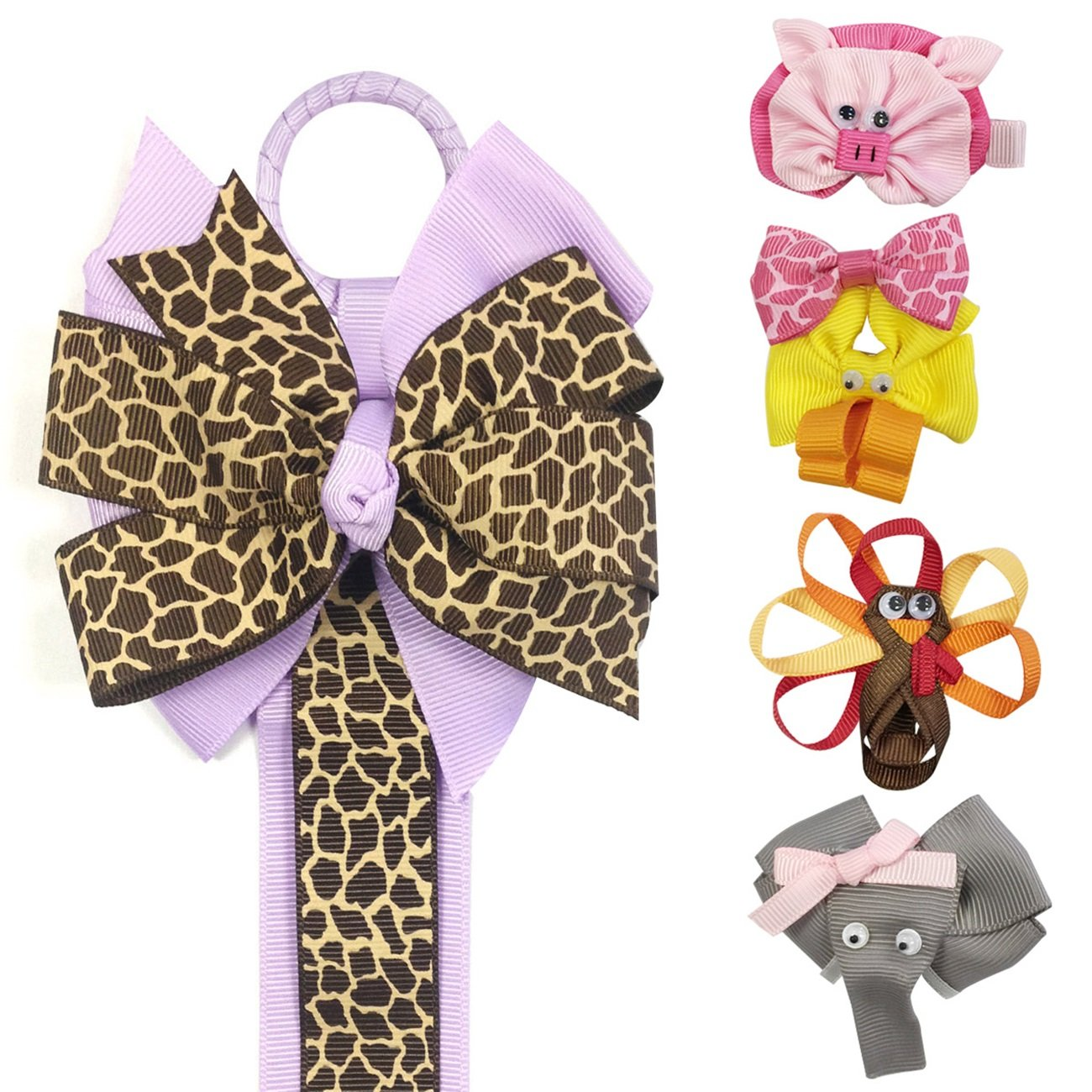 Ribbon Sculpture Hair Clips with Leopard Hair Clip Holder, Purple Wrapables A67829_a