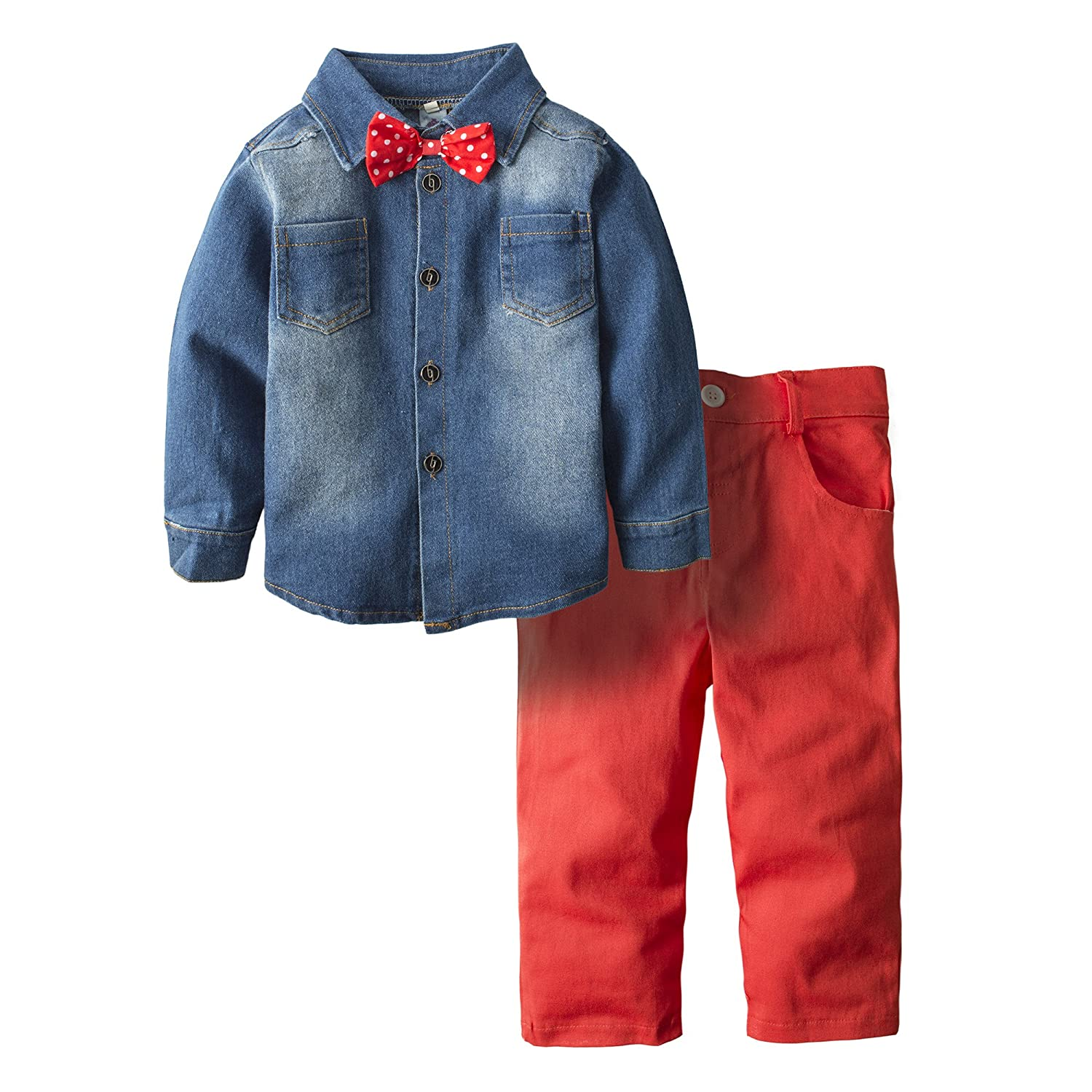 Big Elephant Boys' 2 Piece Cowboy Long Sleeve Jeans Outfit Denim Clothing Set H18C