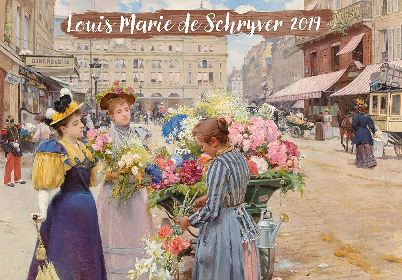 2019Calendrier Mural [12Pages 20,3x 27,9cm] Filles et Fleurs Paris Belle Epoque Louis Marie de Schryver Vintage Art Poster Pixiluv