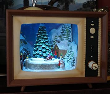 9 inch led lighted animated musical retro tv holiday decoration with christmas village scene - Christmas Tv Decoration