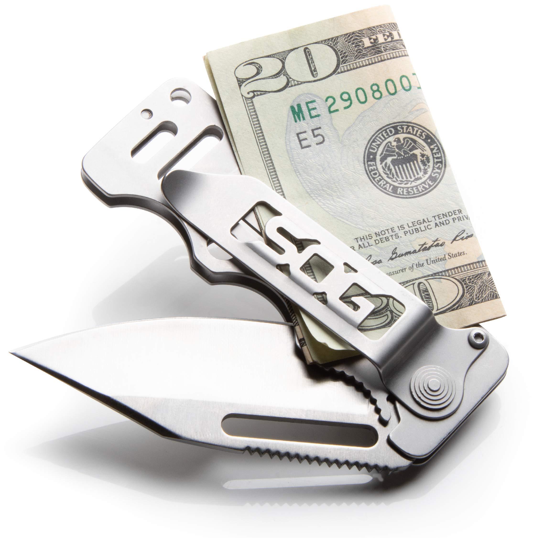 SOG Money Clip Pocket Knife - Cash Card Folding Knife, EDC Knife w/ 2.75 Inch Credit Card Knife Blade and Stainless Steel Money Clip Card Holder (EZ1-CP) by SOG