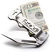 SOG Money Clip Pocket Knife - Cash Card Folding Knife EDC Knife w/ 2.75 Inch Credit Card Knife Blade and Stainless Steel Money Clip Card Holder (EZ1-CP)