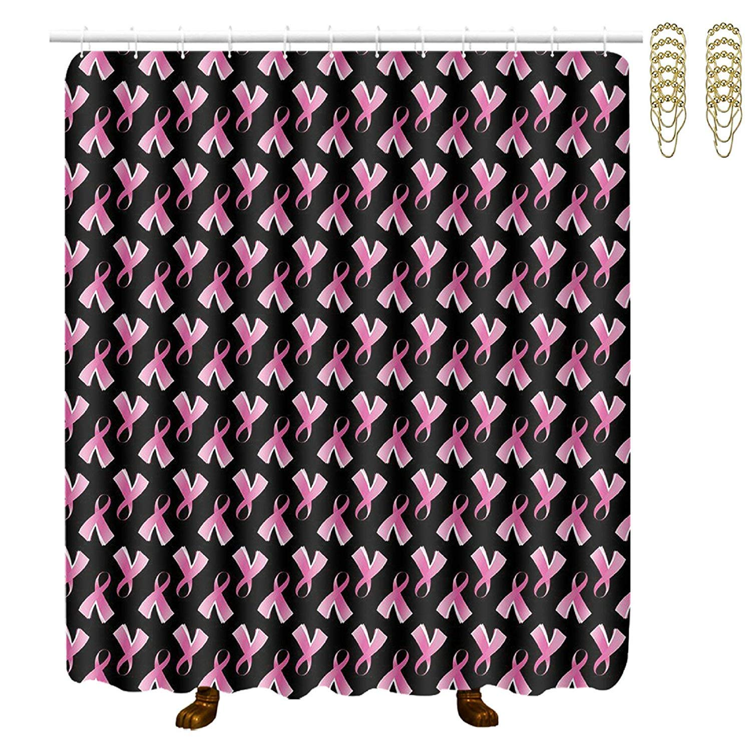 COVASA Decorative Water Repellant Shower Curtain 72x72 Inches Comes with 12 Hooks (Breast Cancer Pink Ribbon)