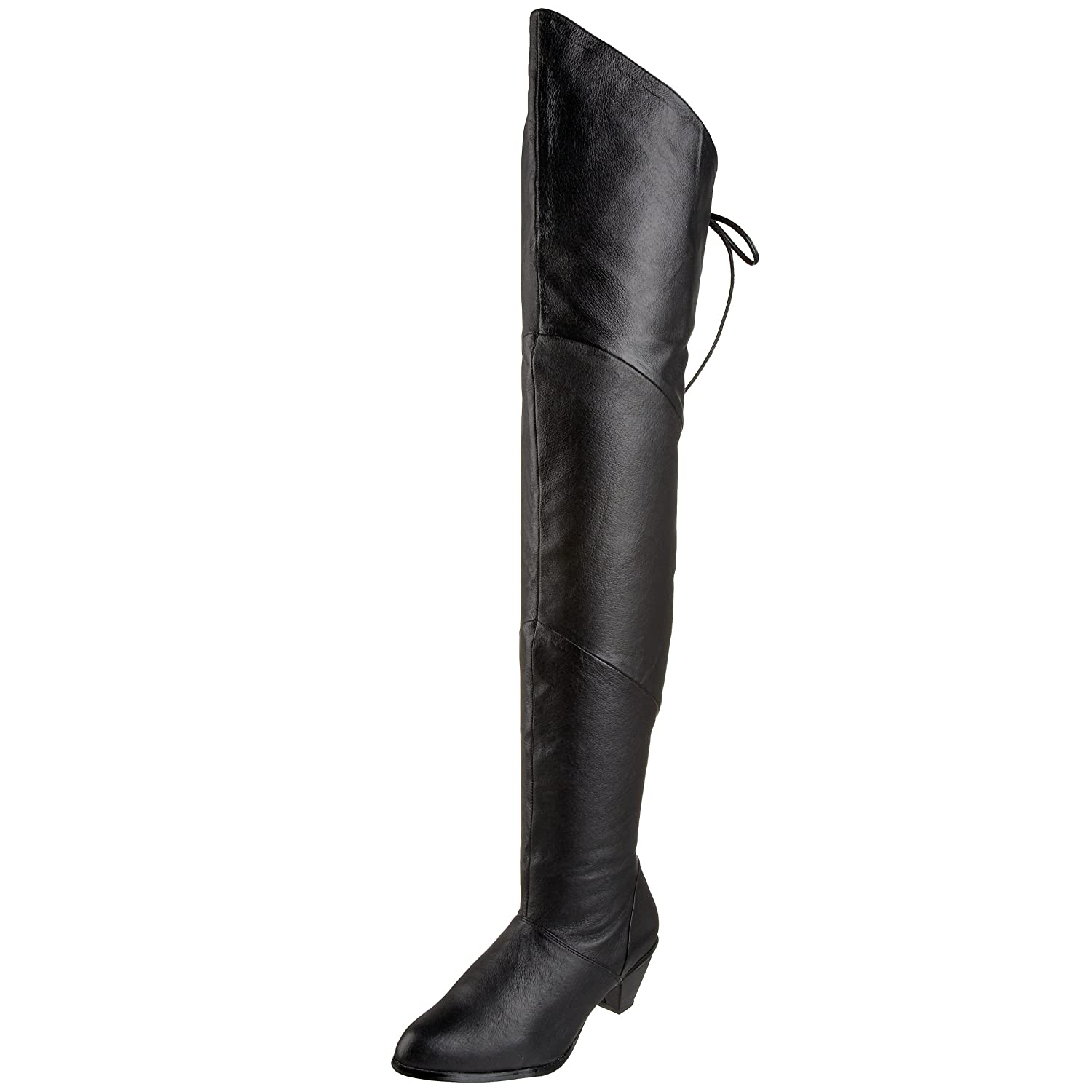 Women's Black Over the Knee Thigh High Short Heel Pig Leather Boots