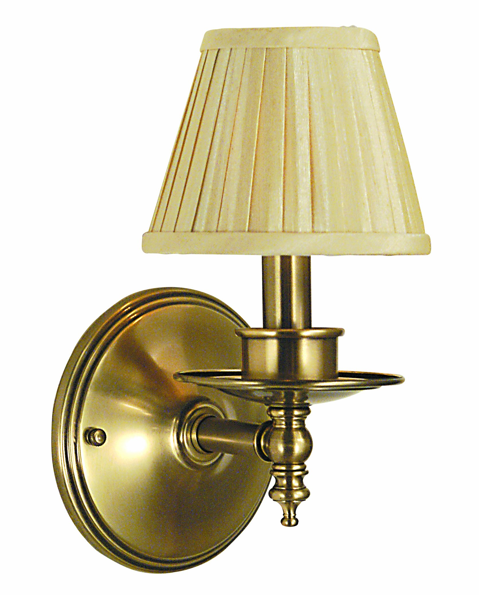 Framburg 2511 AB Sheraton 1-Light Wall Sconce with Golden Pleated Fabric Shade, Antique Brass by Framburg