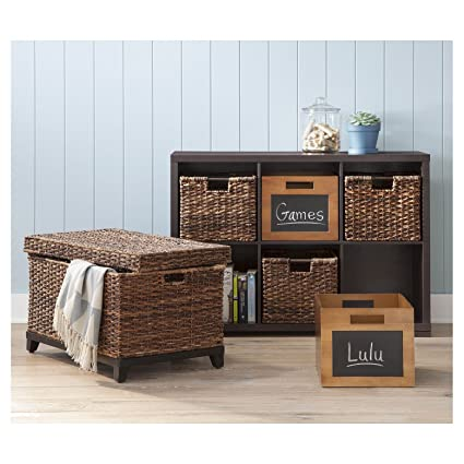 Captivating Brown Wicker Storage Trunk / Coffee Table By Threshold
