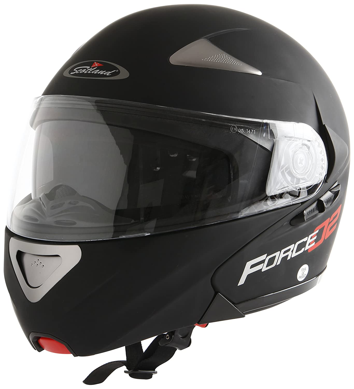 Negro Mate L 59-60 Scotland Casco Modular de Moto Modelo Force 02