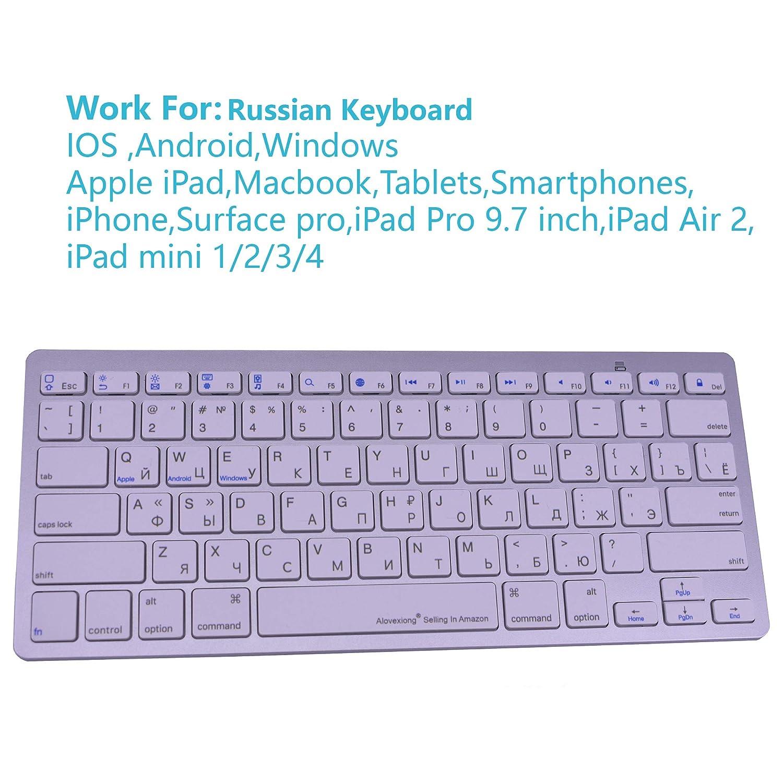 0f5bd3c9560 Alovexiong Russian Keyboard Wireless Bluetooth Shortcuts Keyboard Ultra  Keyboard for Apple Mac/iMac/Android/Windows/Smartphones/iPad Pro ...