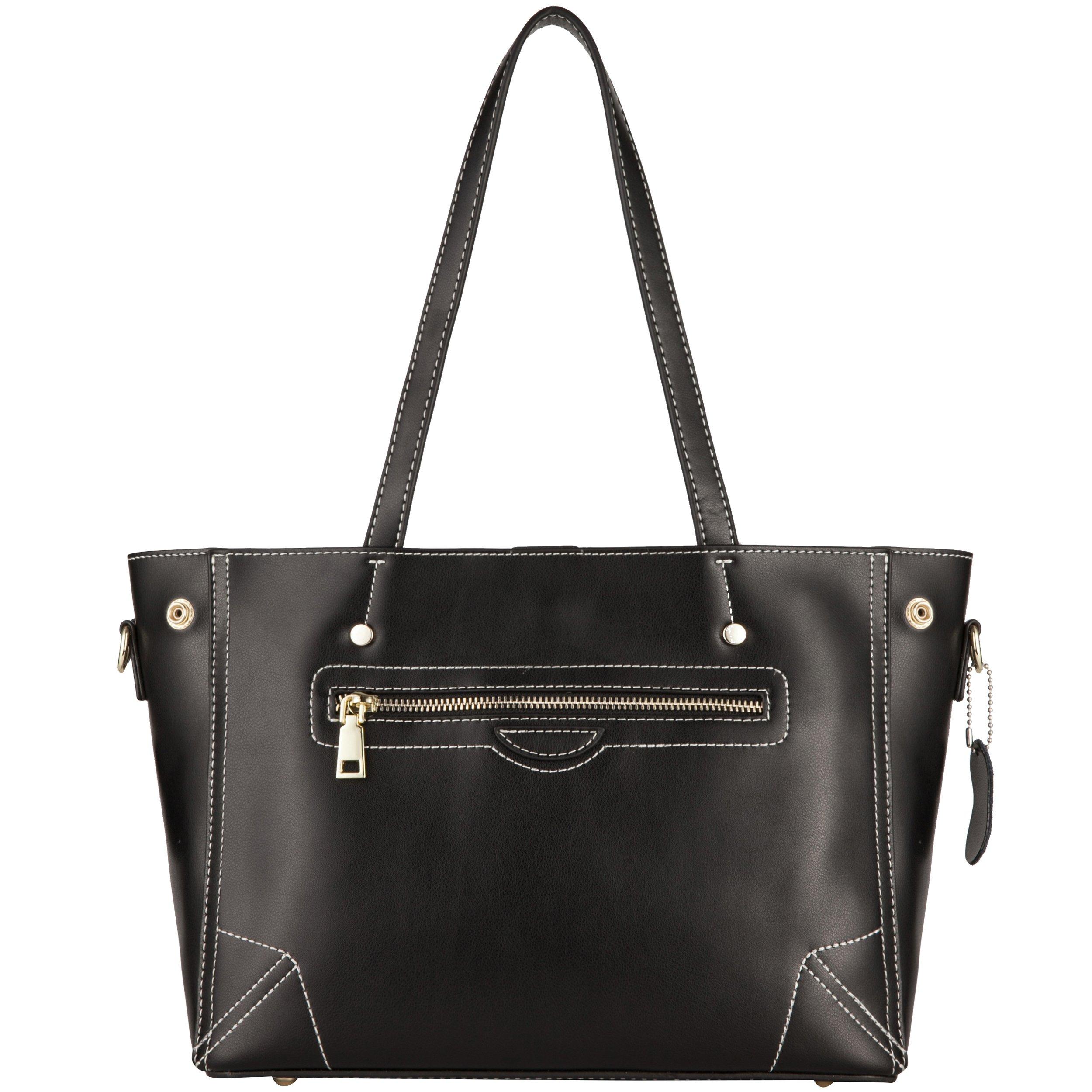 Yiwanda Handbags for Women in Genuine Leather Large Tote Bags Shoulder Bags (Black)