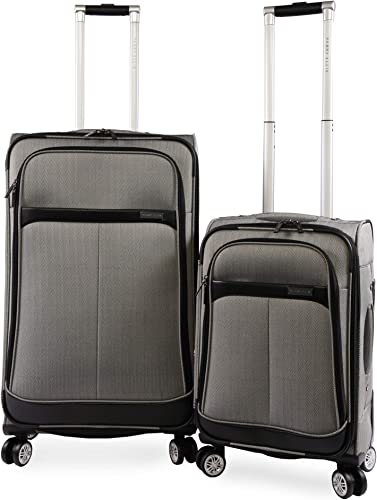 Perry Ellis 2 Piece Marquis Spinner Luggage Set, Herringbone, One Size