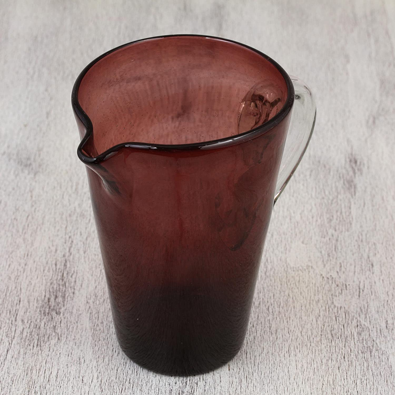 Purple NOVICA Handblown Recycled 157063 Elegant Amethyst Blown Glass Pitcher