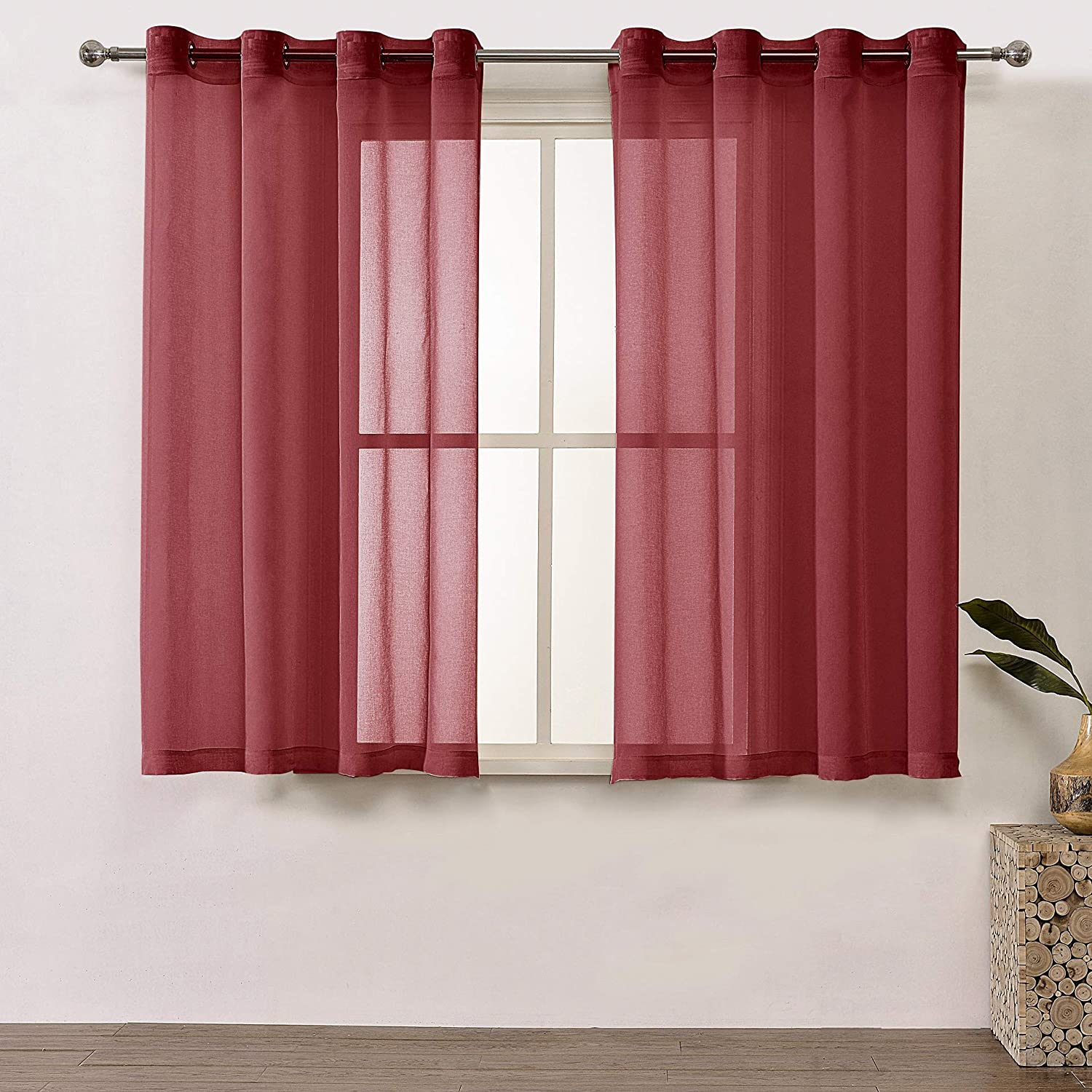 Amazon com dwcn sheer curtains amaranth red window curtain faux linen look voile drapes for living room kitchen set of 2 panels 52x63 inch long home