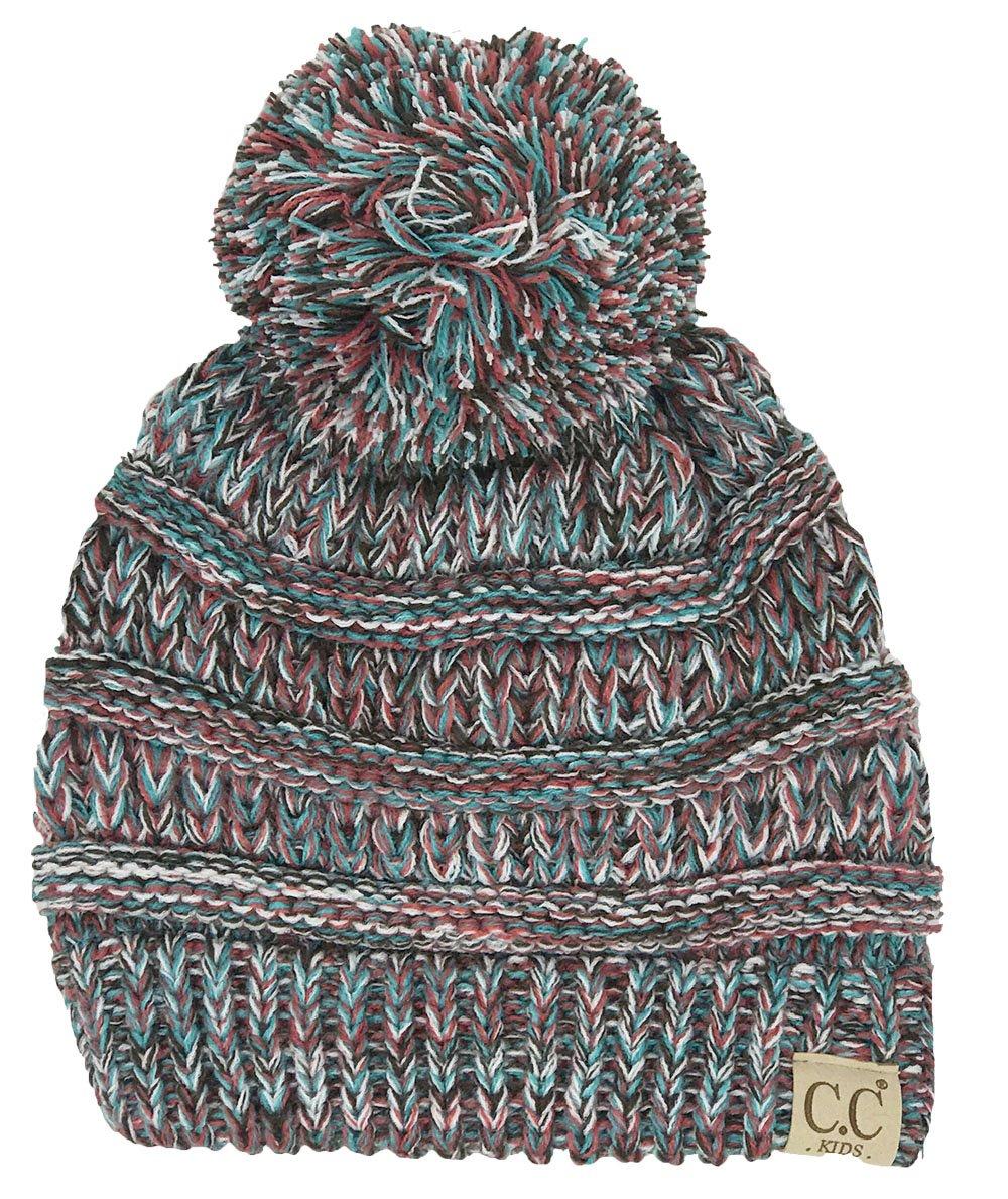 H-6847-816.4246 Girls Winter Hat Warm Knit Slouchy Kid Pom Beanie - Red/Teal #19