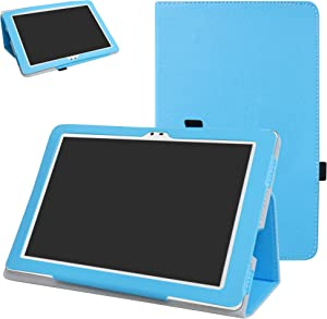 "Insignia Flex NS-P16AT10 10.1"" Tablet Case,Mama Mouth PU Leather Folio 2-Folding Stand Cover for 10.1"" Insignia Flex 10.1 NS-P16AT10 Tablet,Light Blue"