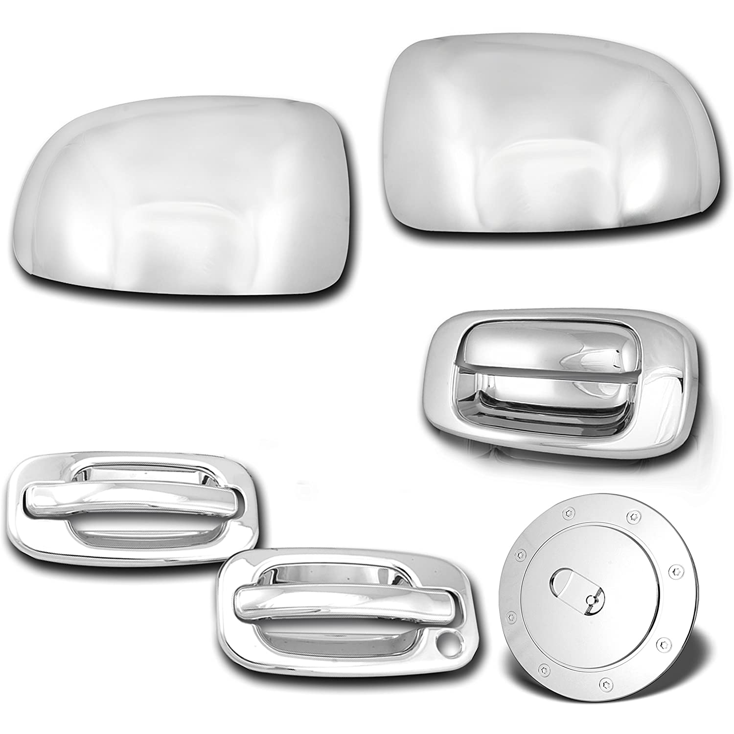 99-06 Chevy Silverado Chrome FULL Mirror+4 Door Handle+PSG KEYHOL+Tailgate Cover