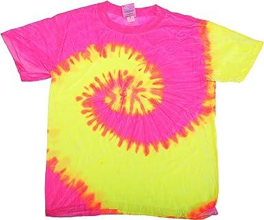 Tie-Dye - Camiseta psicodélica de Manga Corta Modelo Spiral Unisex Niños Niñas - Moda/Tendencia/Hippie (Grande (L)/Fluorescente): Amazon.es: Ropa y accesorios