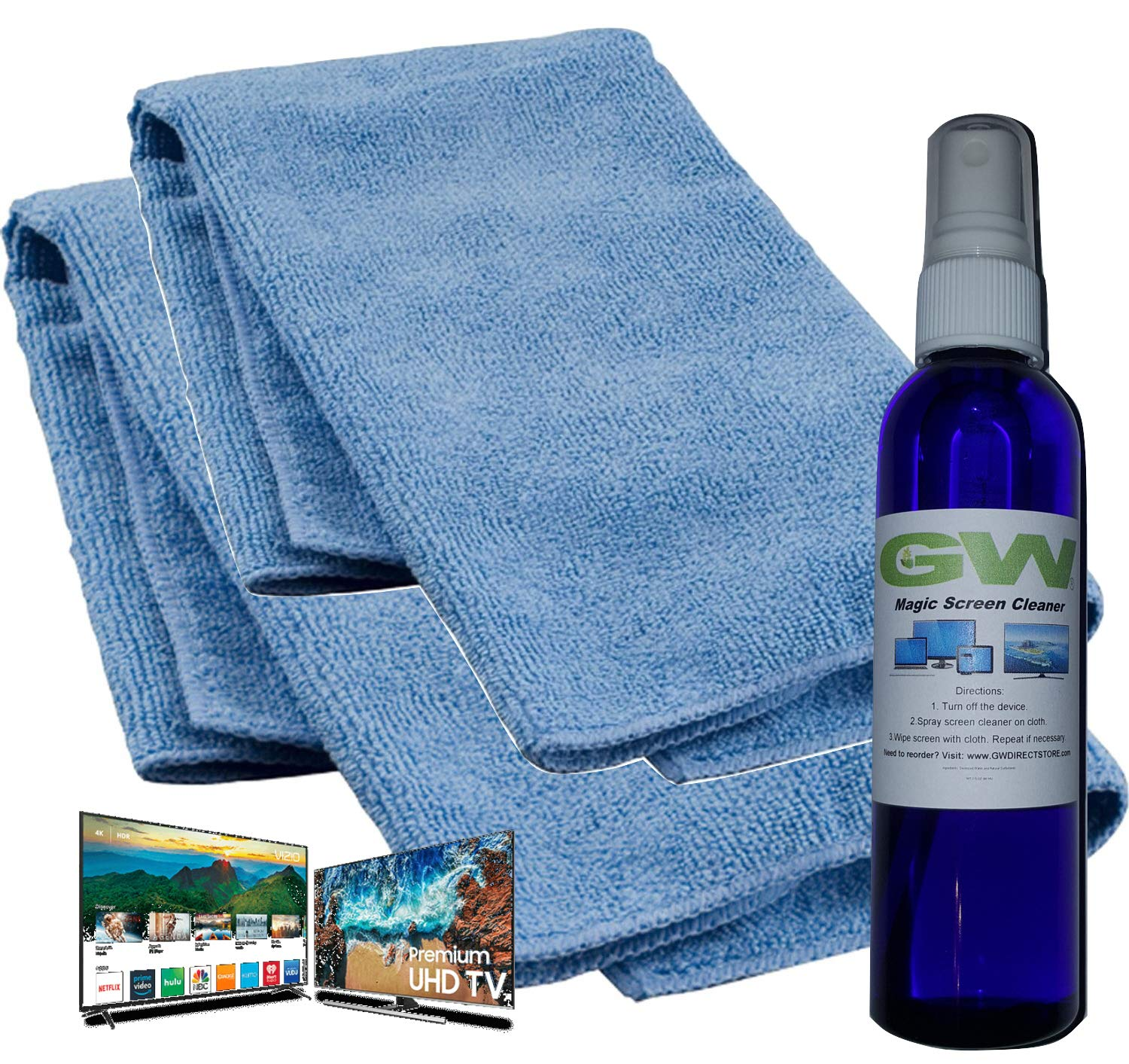 GW Deluxe Magic Screen Cleaner Kit for Samsung, LG, Sony, Ultra HD 4k HDR OLED TV, Laptop and iPad Screens with 2 Premium Microfiber Cloths and Larger Spray Bottle