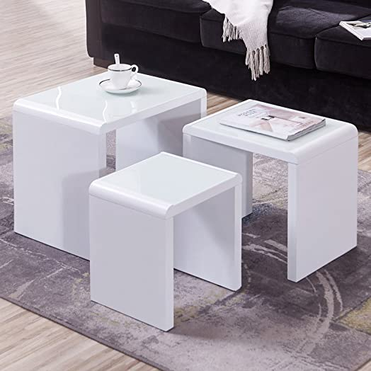 UEnjoy Modern Design White High Gloss Coffee Tables Nest Of 3 Coffee Table  With Glass Top