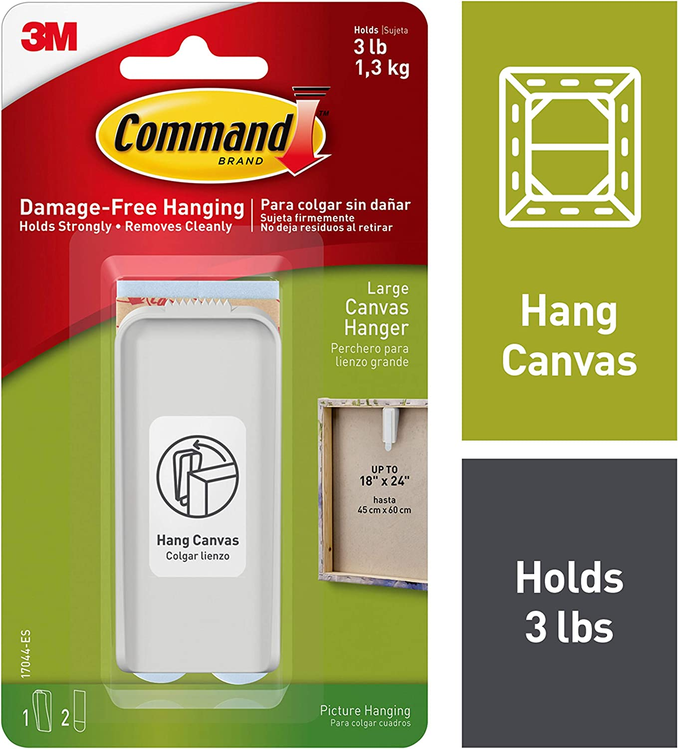 Large 1 Hanger 2 Strips Command Canvas Picture Hanger White