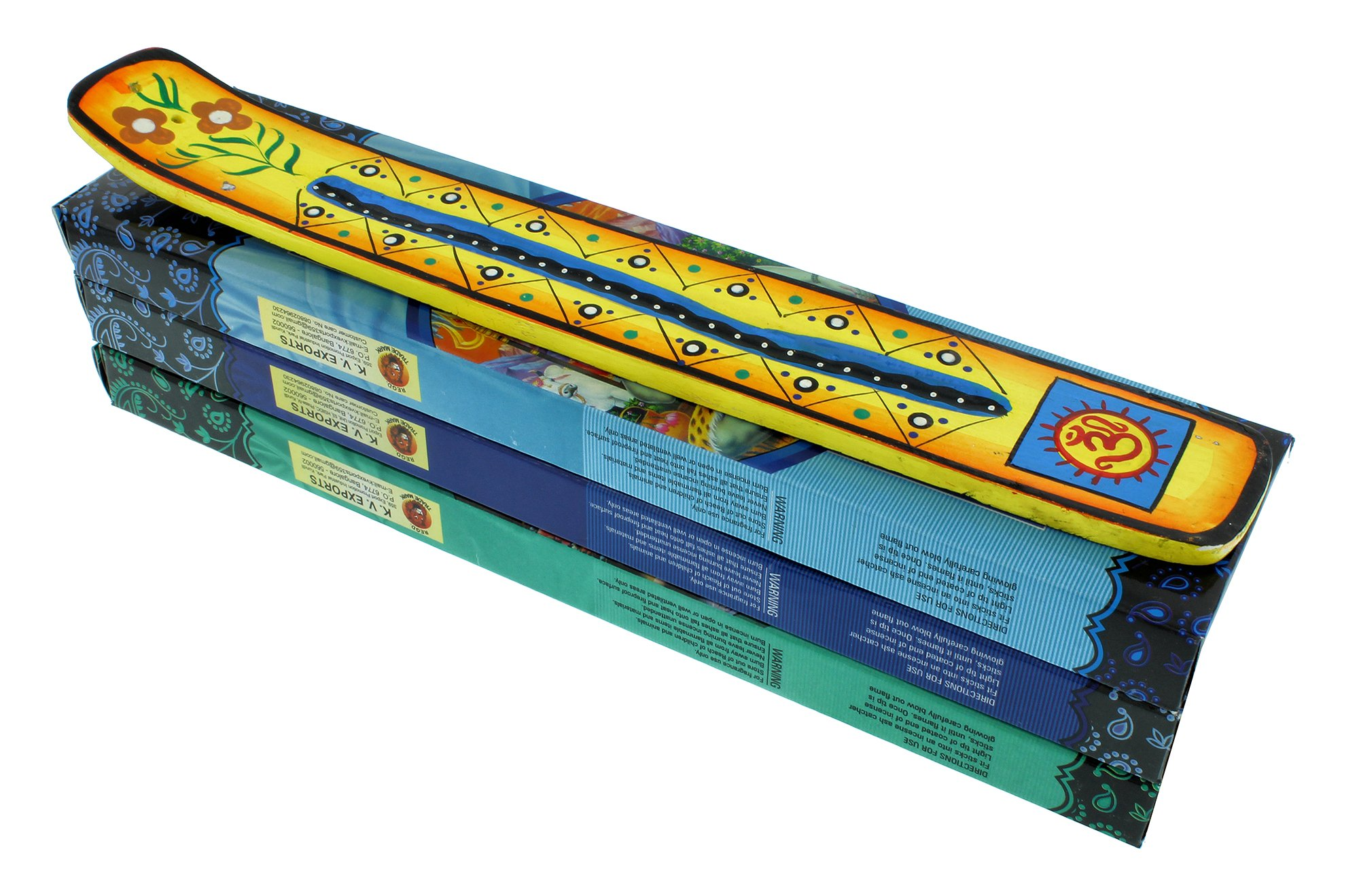 Zen Mood Incense Gift Pack - 3 Boxes of Assorted Indian God Incense and 1 Hand Painted Incense Holder with Om Design - Yellow