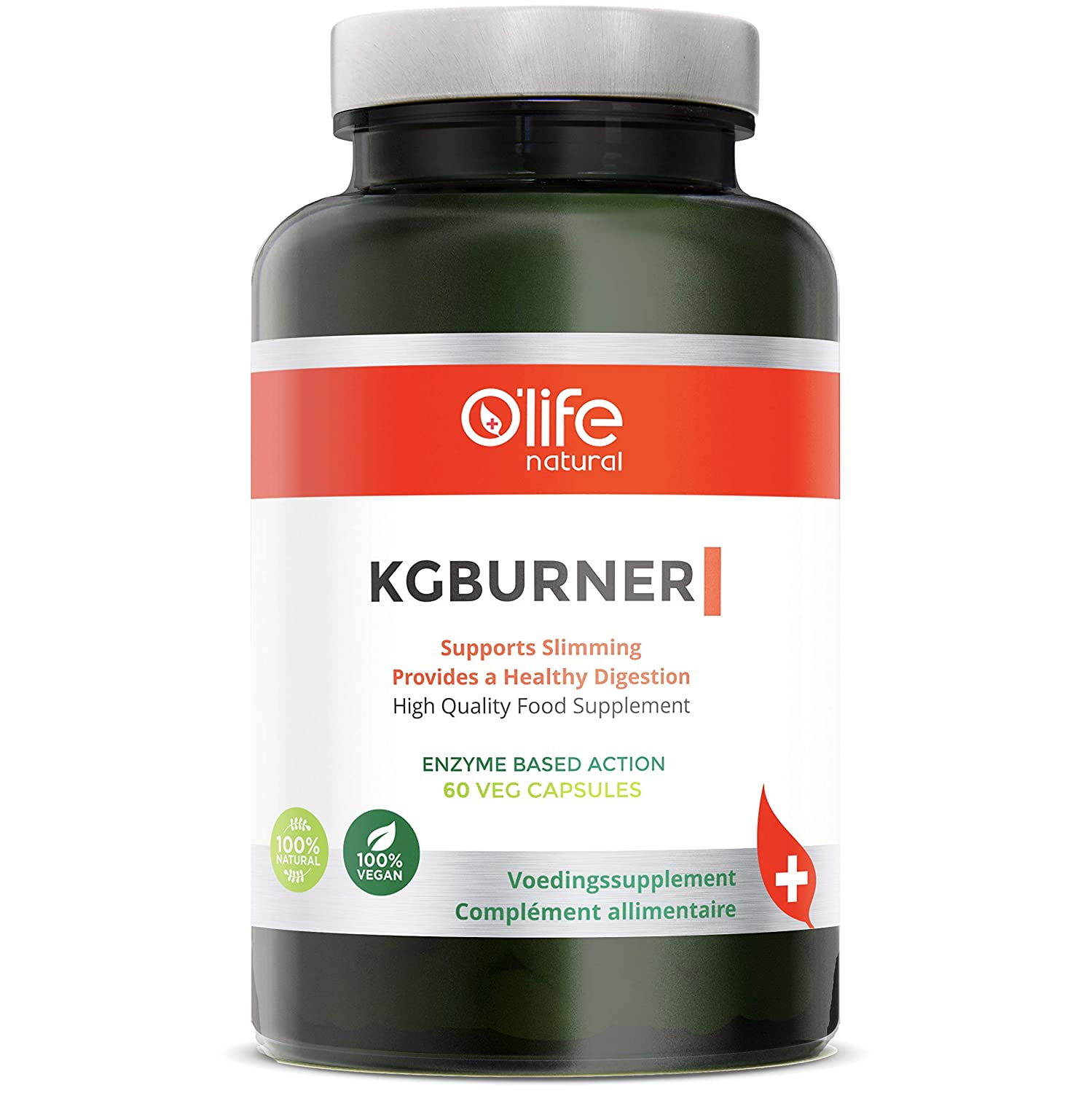 O Life Natural s KGBURNER – Natural Fat Burner – 65Billion Probiotics Enzyme Formula with Kelp Ketone for Healthy Weight Support Metabolism – More Energy – Antioxidant – Slimming – 60 Veg Capsules