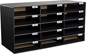 AdirOffice File Organizer Classroom - Office - Home - Corrugated Cardboard (15 Slots, Black)