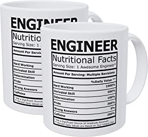 Willcallyou Pack of 2 Engineer Nutritional Facts 11 Ounces Funny White Coffee Mug
