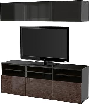 IKEA BESTA - almacenaje de la TV puertas combinación / de vidrio Negro-marrón / selsviken alto brillo / vidrio ahumado marrón: Amazon.es: Hogar