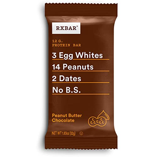 RXBAR, Peanut Butter Chocolate, Protein Bar, 1.83 Ounce Pack of 12 , High Protein Snack, Gluten Free