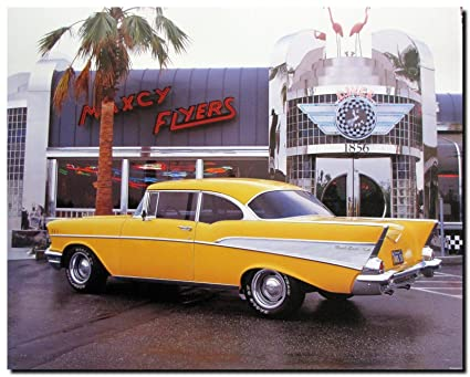 Amazon.com: Vintage Classic Car Wall Decor Yellow Chevy Bel Air 1957 ...