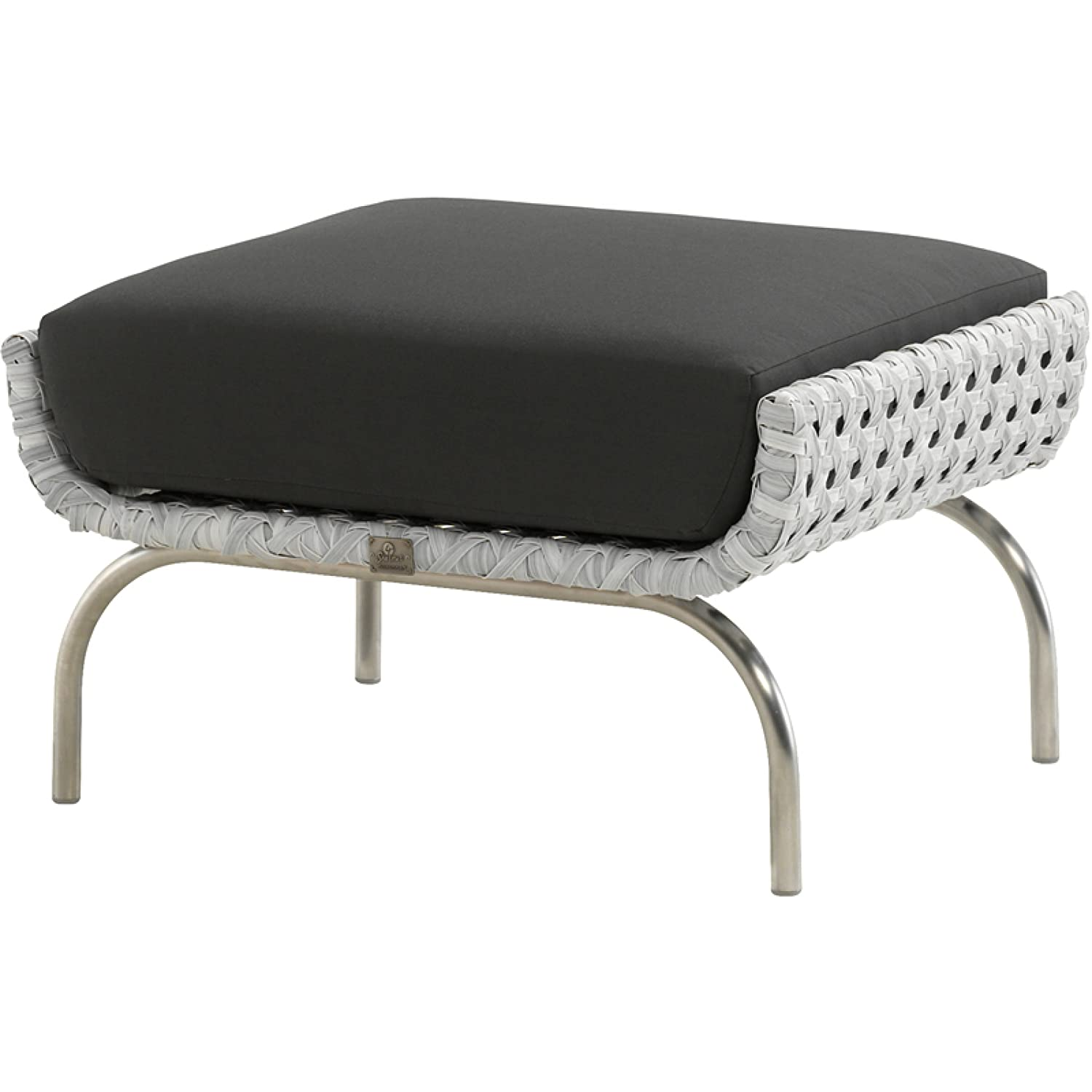 4Seasons Outdoor Luton Fußhocker Polyrattan pearl inkl. Kissen Footstool