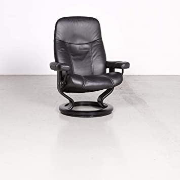 Stressless Designer Leather Armchair Black Genuine Leather ...