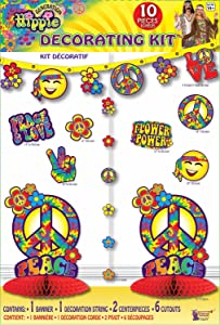 Forum Novelties 75624 Hippie Decor Kit, Blue, Standard, Multicolor, Pack of 1