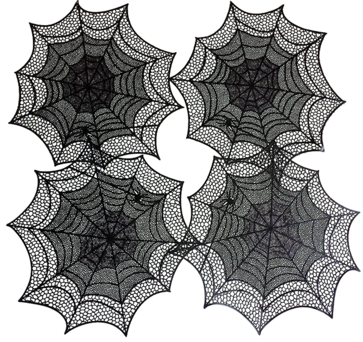 Benson Mills Spider Web Pressedビニールプレースマット、ブラック、4のセット   B016MUG68Q