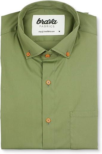 Camisa Verde para Hombre Camisa Hombre Manga Corta Estampada Modelo Jurassic Adventure Camisa Casual Regular Fit Brava Fabrics 100/% Algod/ón