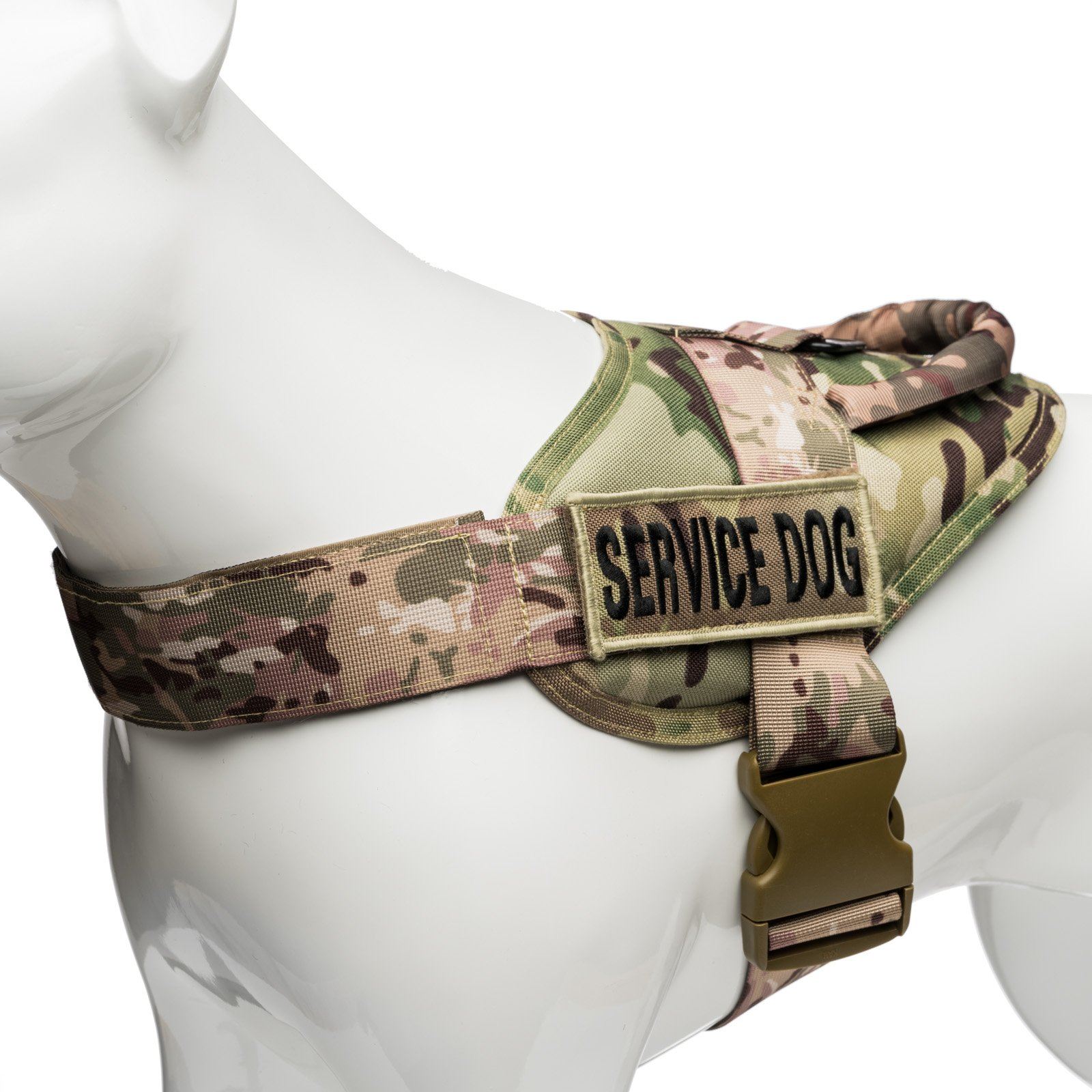 Industrial Puppy Camo Service Dog Vest Harness with Service Dog Patches – Military Dog Animal Harness Gear Kit – Adjustable Hook & Loop Strap – Jacket Loop Strips for Patch Accessories and Ring for Sm