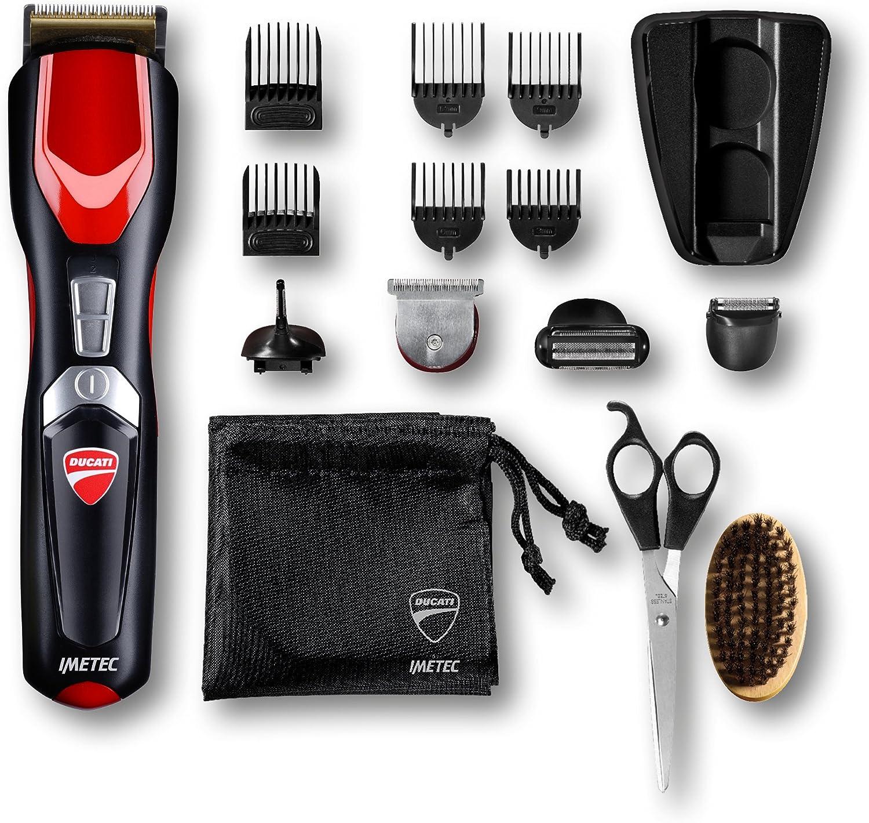 Imetec Ducati - Gk 818 Race - Kit Recortador de barba, 16 en 1 para cara y cuerpo, cuchillas Revestidas de Titanio, Cuchilla Extralarga, Minimaquinilla de afeitar, Recortador de precisión