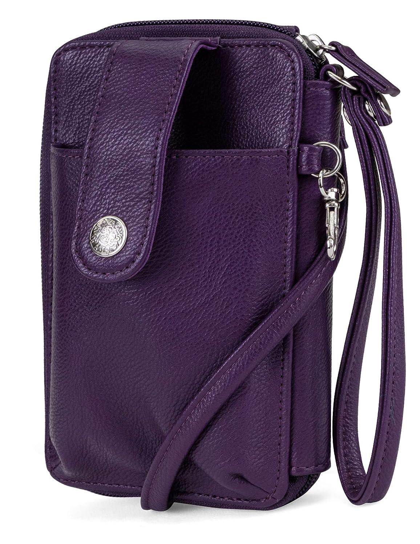 (Purple) MUNDI Jacqui Vegan Leather RFID Womens Crossbody Cell Phone Purse Holder Wallet