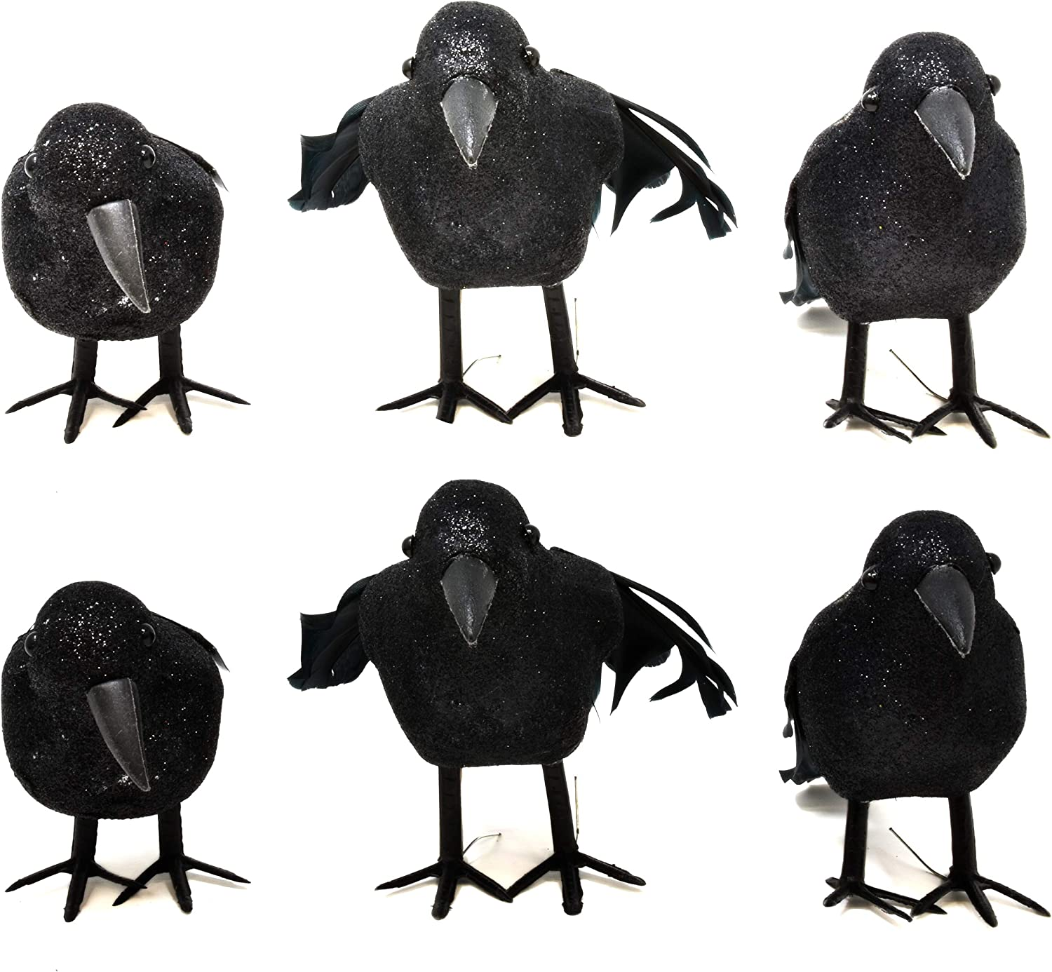 "Gift Boutique Halloween Black Feathered Crows 6 Pack Artificial Realistic Fake Scary Bird Ravens Figurine Ornaments 6.5"" for Indoor Outdoor Statue Props Art and Crafts Party Decorations"
