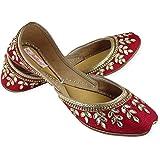Fulkari Women's Soft Leather Bite and Pinch Free Doli Flat Jutti Ethnic Shoe