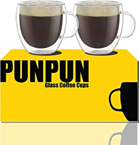Shot Glass Coffee Cups 6.7 oz. 200ml, Set of 2, Double Wall Insulated Glasses Clear Coffee Cups, Glass Coffee Mugs,Espresso Cups Set, Heatproof Insulating Clear Glass Mug with Handle Clear Coffee Cups