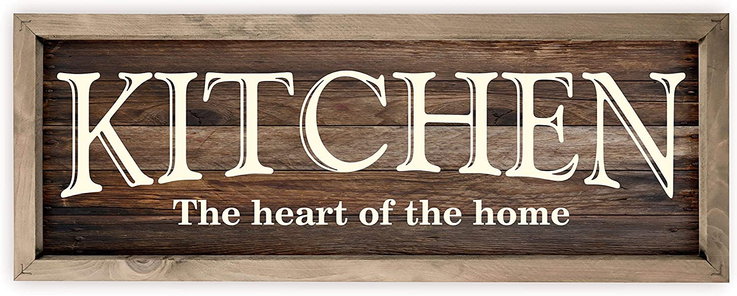Amazon Com Kitchen The Heart Of Home Rustic Wood Wall Sign 7x19 Brown With Frame