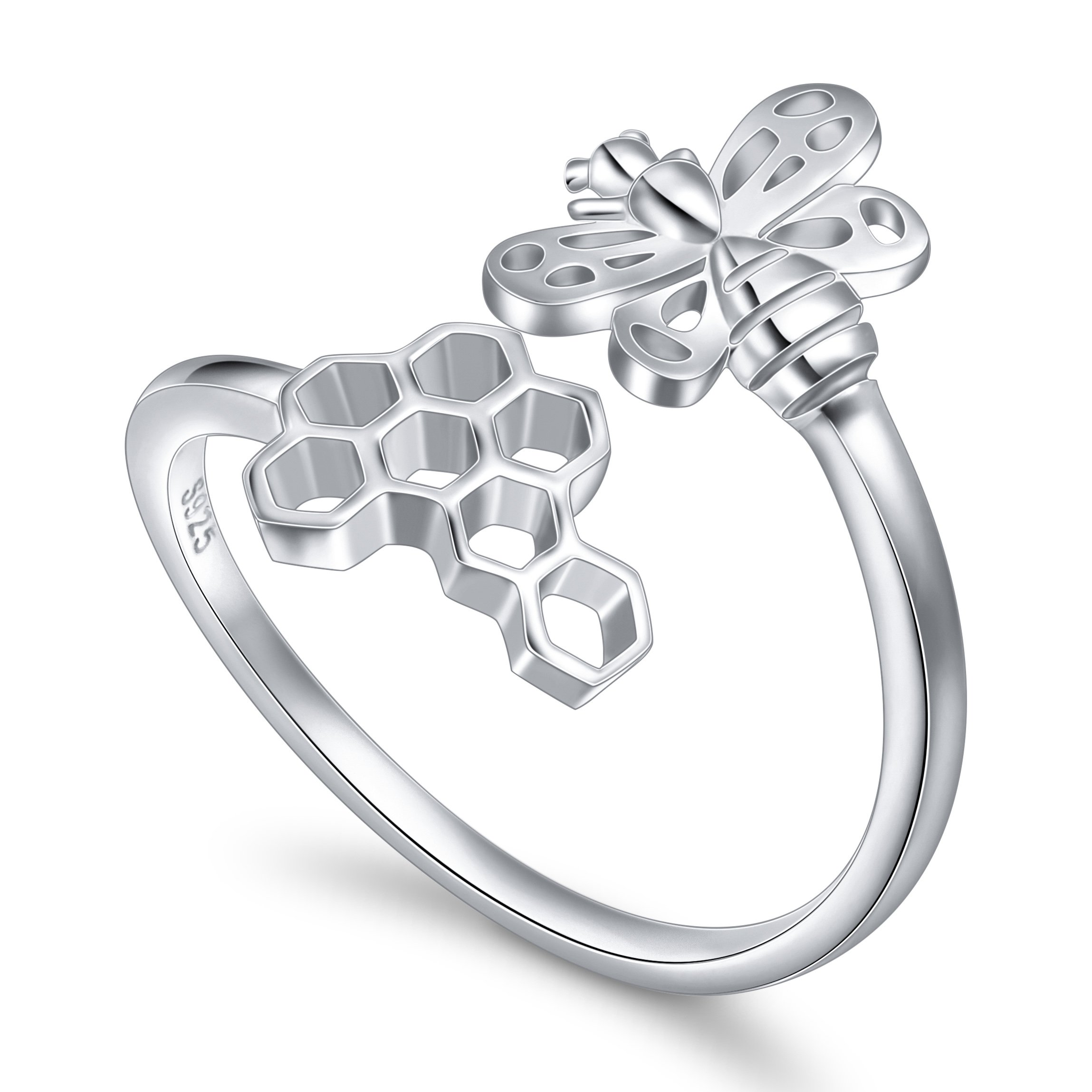 SILVER MOUNTAIN Honeycomb Bee Ring for Women S925 Sterling Silver Adjustable Wrap Open Ring